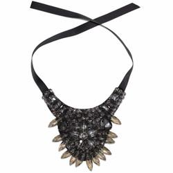 Gray Crystal and Gem Bib Necklace