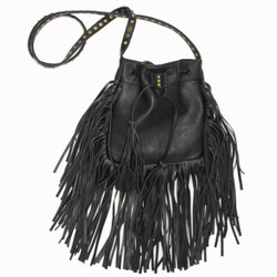 Black Cross Body Bag with Fringe