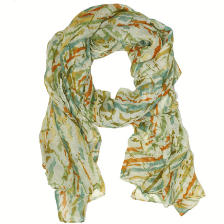 Green paint splatter print scarf by Bucasi