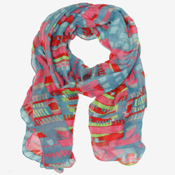 Colorful Watercolor Impressionist Style Scarf in Pink Blue and Green | Bucasi SF209 | Main