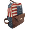 American Flag Backpack with Faux Leather Look Trim | Bucasi BP101 | Side