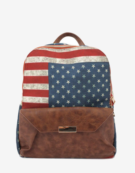 American Flag Backpack with Faux Leather Look Trim | Bucasi BP101 | Long