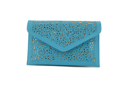 Aqua and Gold Cut out Envelope Clutch