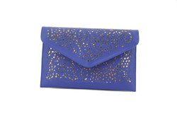 Navy Blue and Gold Cut out Envelope Clutch