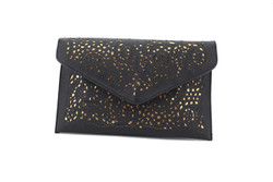 Black and Gold Cut out Envelope Clutch