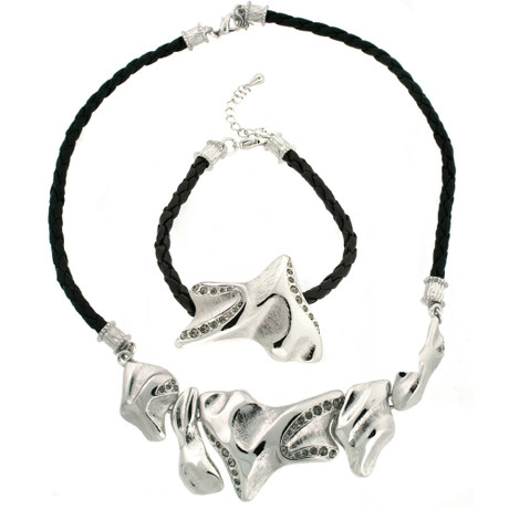 Braided modern necklace set by Bucasi