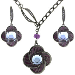 Purple Flower Enamel Set