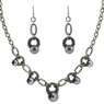 Black imitation pearl necklace set