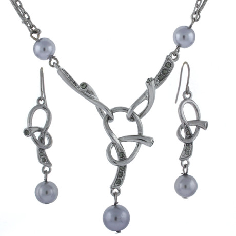 Pretzel Pendant Earring and Necklace set with imitation Pearl