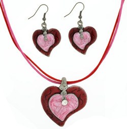 Enamel Heart Necklace Set in Red and Pink
