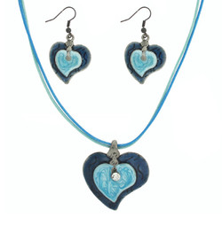 Blue Enamel Heart Set with Necklace and Earrings