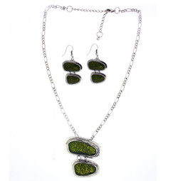 Drop Pendant Jewelry Set In Green
