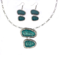 Drop Pendant Jewelry Set In Turquoise