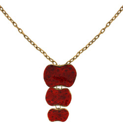 Red enamel drop pendant necklace