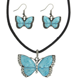 Butterfly Pendant Jewelry Set with Necklace and Earrings