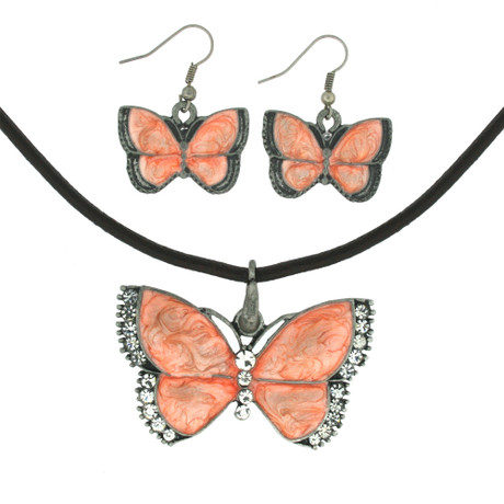 Peach Butterfly Pendant Jewelry Set with Necklace and Earrings