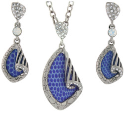 Snakeskin Print Necklace and Earring Set In Blue