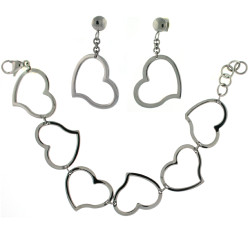 Stainless Steel Heart Charm Bracelet and Earring Set