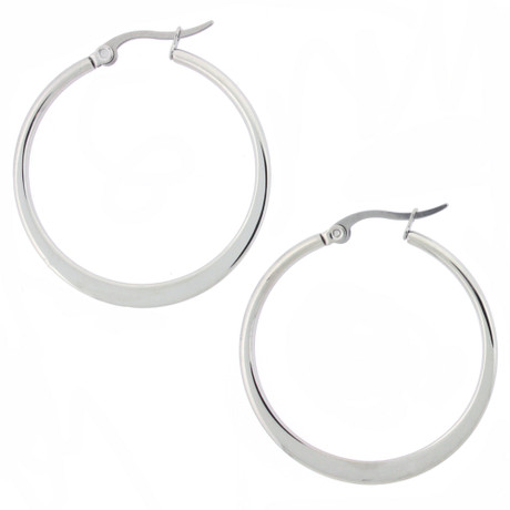 Thin Stainless Steel Hoop Earrings | Bucasi Stainless Steel Jewelry | SSEHOOP | Main