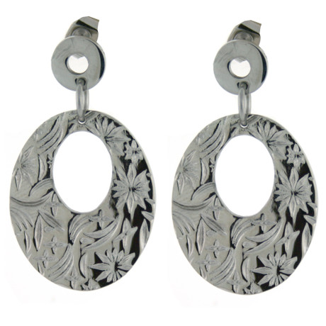 Floral Damask inspired stainless steel earrings