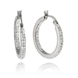 Stainless Steel Hoop Earrings with Crystals