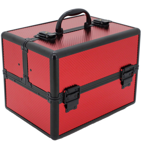 Red makeup train with expandable tray