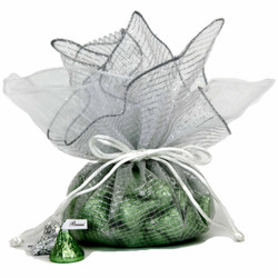 Organza Gift Bags in Silver/White - Set of 30