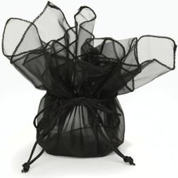 Black Organza Gift Bag | Party Favor Treat Bag | Bucasi TS-ORGBAG-BLK | Second Photo