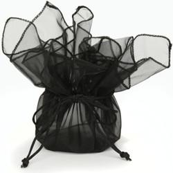 Black Organza Gift Bag | Party Favor Treat Bag | Bucasi TS-ORGBAG-BLK | Second Photo