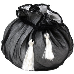 Black & White Gift Pouch | Satin Party Favor Bag with Tassels | Bucasi PCH200BW | Main