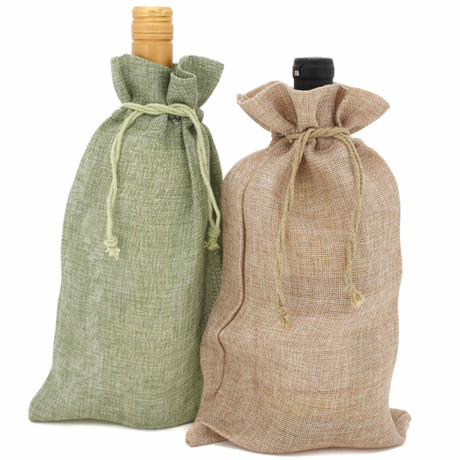 Burlap Wine Gift Bags in Sage Green and Tan | Bucasi | OBG310MGR | Main View