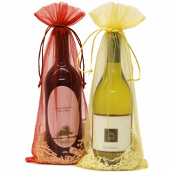 Organza Wine Bags - Red