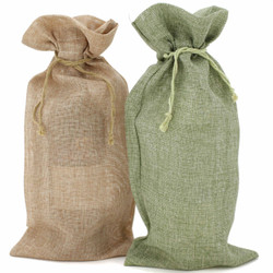 Burlap Wine Bags - Set of 10
