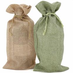 Burlap Wine Bags - Set of 10