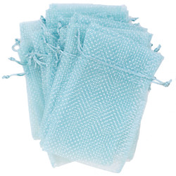light blue organza bags Aqua