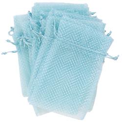 light blue organza bags Aqua