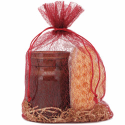 Textured Red Organza Bag | Large | Sheer Organza Party Favor Goodie Bags |  Set of 30 | Bucasi OBG140LBUR A