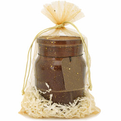 Gold Organza Gift Bag with Sparkle | Medium Party Favor Gift Bag | Candle View