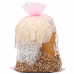 Pink Organza Gift Bag | Treat and Party Favor Pouch | Bucasi | OBG100LPNK | Main