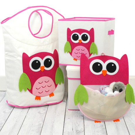 Pink Owl Organizer Set | Bucasi Pink Childrens Storage | Pink Owl Organizer for kids | Pink Owl Hamper Stool Basket Set | Bucasi | Main SCR625