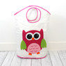 Pink Owl Organizer Set | Bucasi Pink Childrens Storage | Pink Owl Organizer for kids | Pink Owl Hamper Stool Basket Set | Bucasi | Hamper
