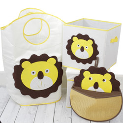 Lion Kids Organizer Set | Bucasi Yellow Lion Toddler Storage | Cute Lion Owl Organizer for kids | Yellow Lion Hamper Stool Basket Set | Bucasi | Main SCR636