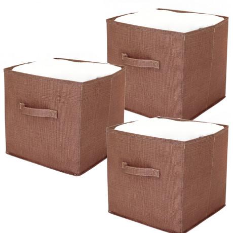 Linen Cubby Cube | Bucasi Cubby Cube | Sleek Modern Cubby Cube | Organizer Cubby Cube | Set of 3 | Bucasi SCR370BR