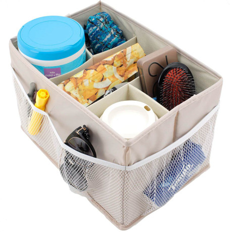 Beige Backseat Organizer with Collapsible Sections   Bucasi SCR700   Main