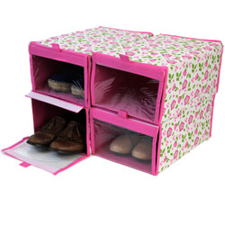 Pink Floral Shoe Organizer Boxes | Collapsible Storage Solutions | Bucasi SCR320 | Main