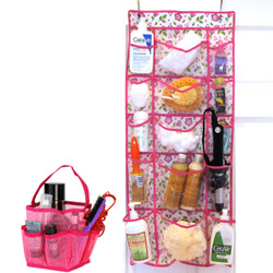 Pink Floral Over the door Hanging Organizer Pouches and Matching Pink Mesh Shower Caddy | Bucasi Pink Floral Storage Solutions | Bucasi SCR477PK | Set