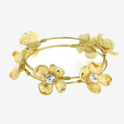 Gold Flower and Crystal Stacking Bracelet set | Bucasi BR101 | Main