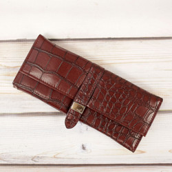Crocodile Print Classic Burgundy Jewelry Roll Up | Bucasi TS12126 | Main