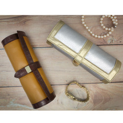 Silver & Gold Jewelry Roll Up | Bucasi TS10641GOLD | Silver & Brown