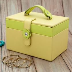 Yellow Cute Girls Flower Jewelry Case | Lime Green Jewelry Box | Bucasi TS2650yellow | Main